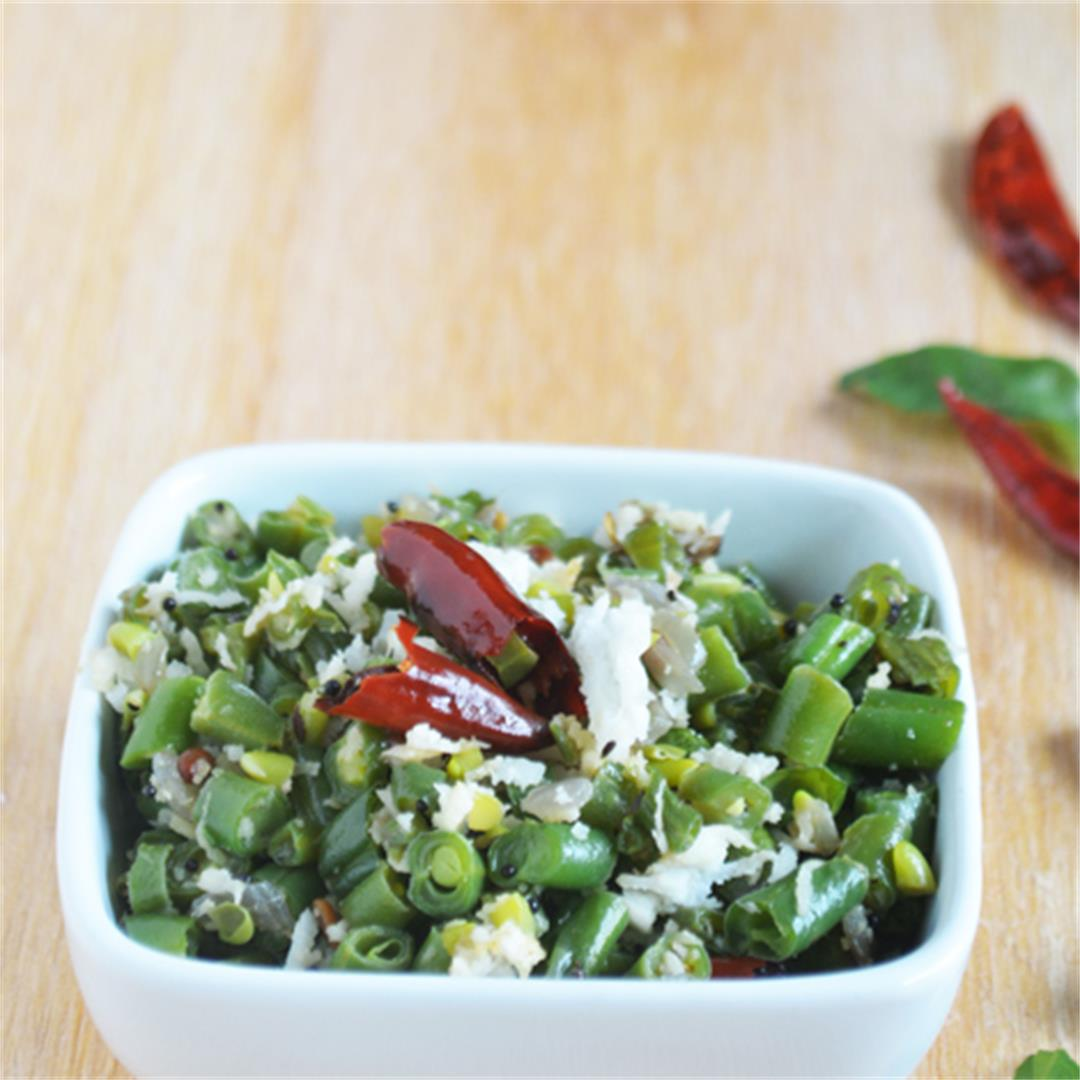 Green bean stir fry, South Indian side dish recipe