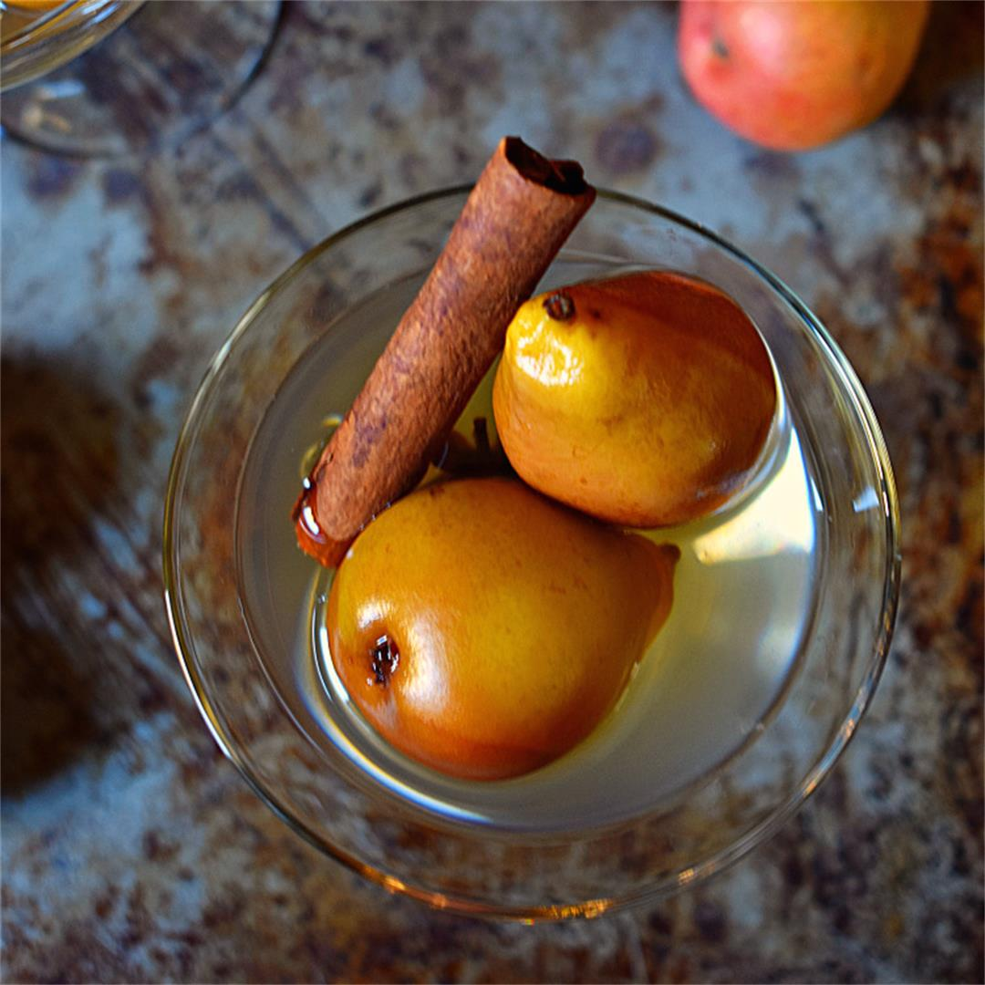 Oven-Poached Pears with White Wine