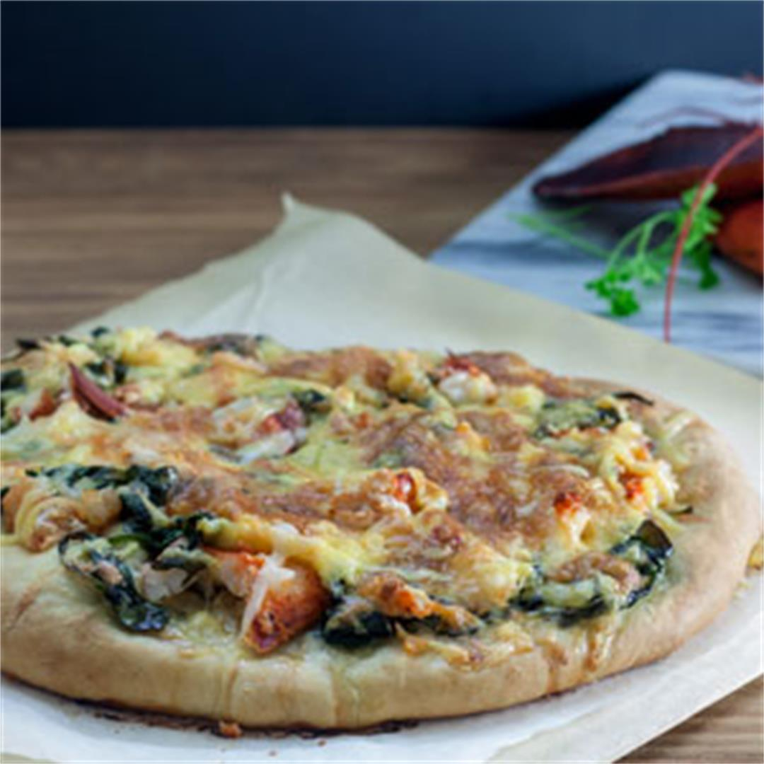 Lobster Pizza with Spinach and Gouda