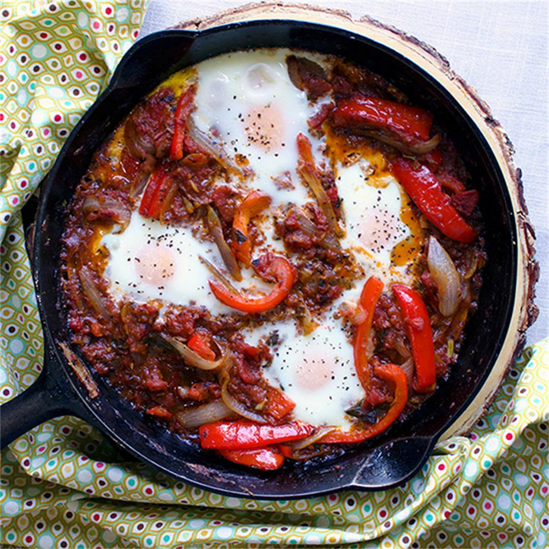 Chachouka (North African Tomato and Pepper Stew with eggs)