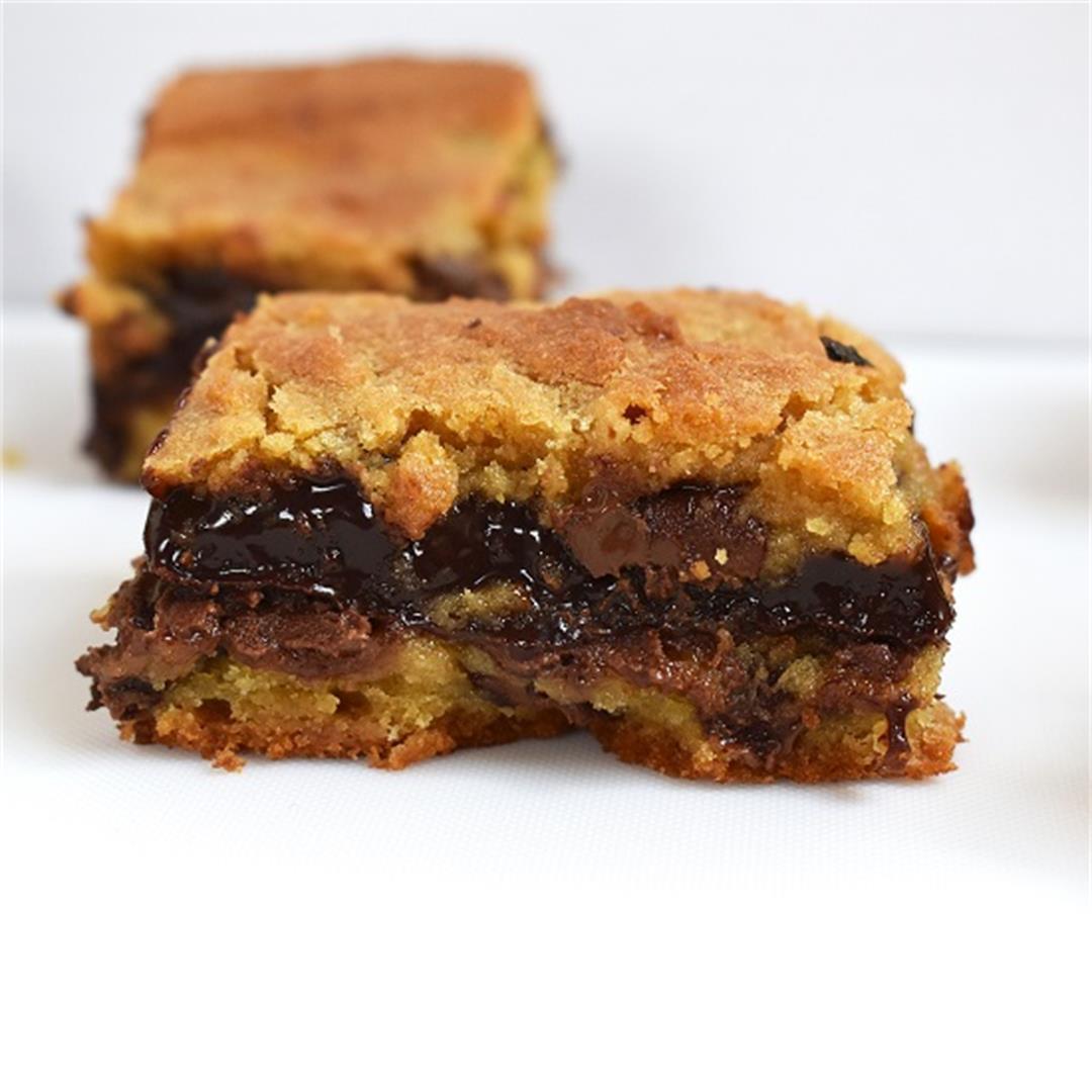 Chocolate Fudge Stuffed Cookie Bars