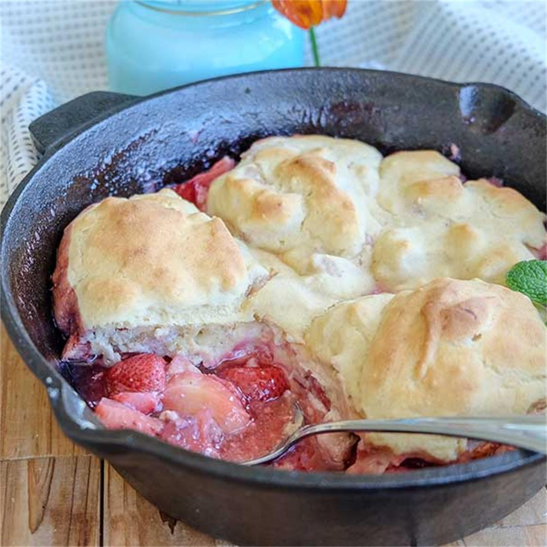 Skillet Strawberry Cobbler with Cinnamon Cream Cheese Biscuits