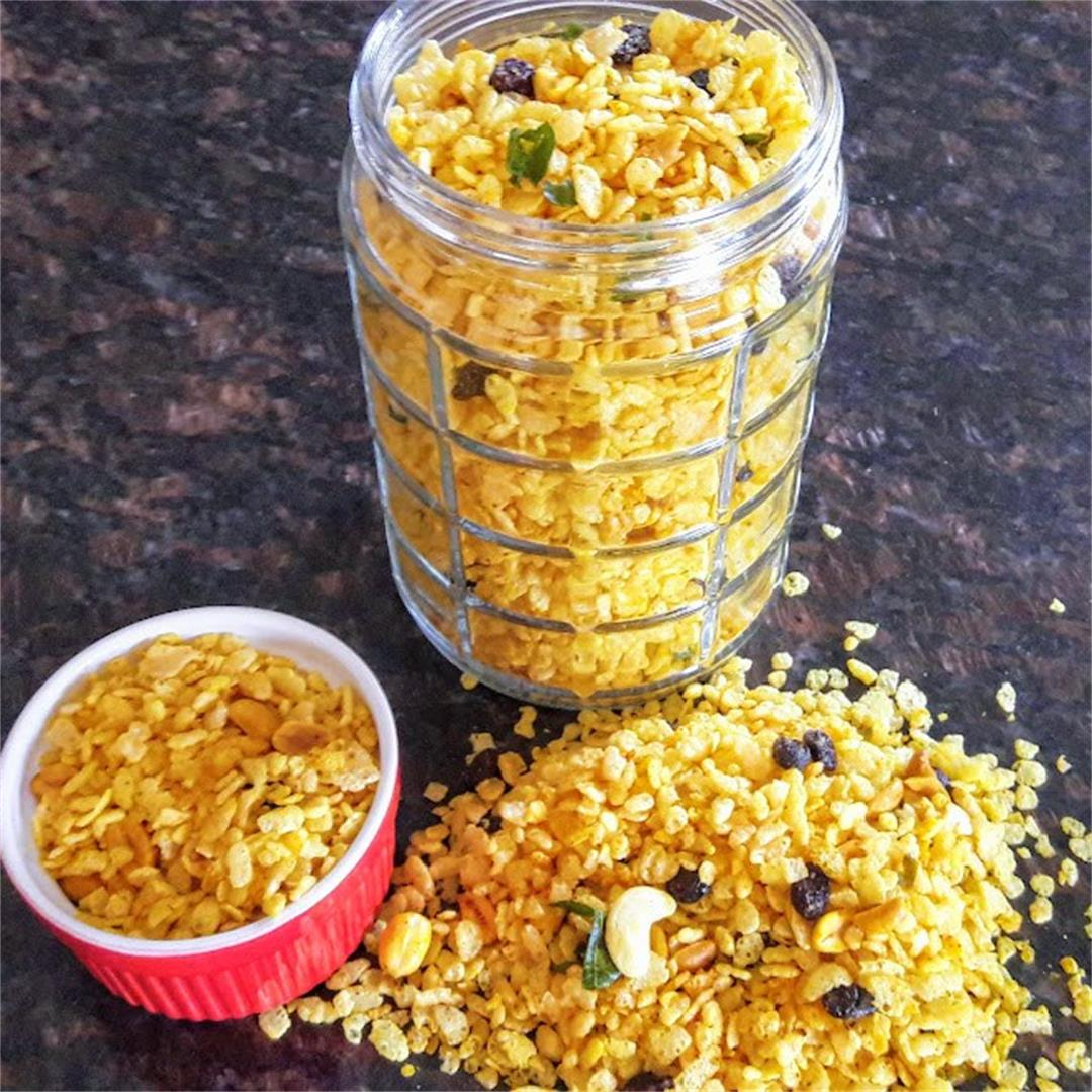 Chivda -Indian Savory Rice Krispies Trail Mix