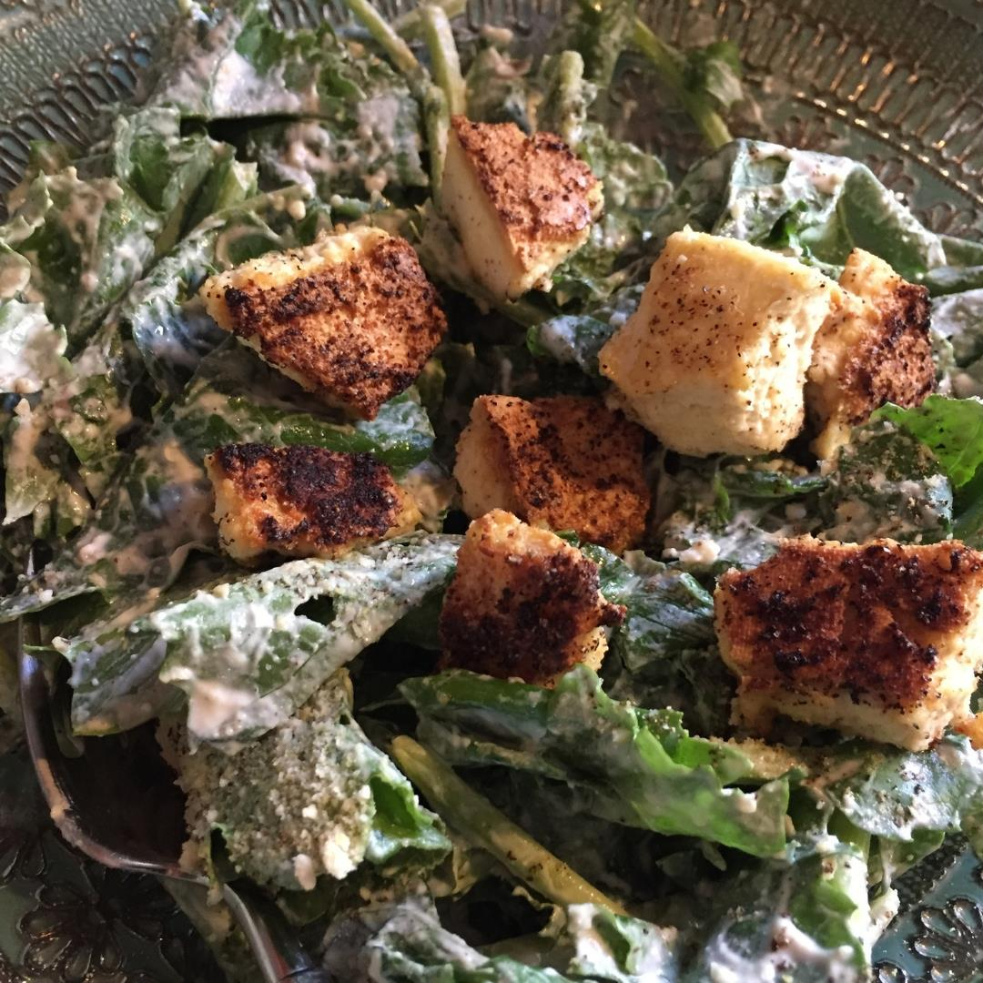 Vegan KALE CAESAR Salad- Creamy, healthy, satisfying...