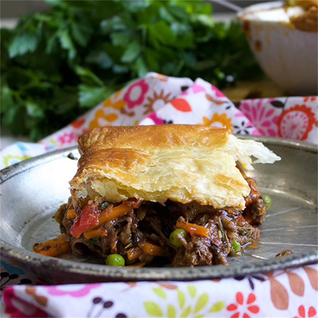 Tuscan Beef Pot Pie with a Puff Pastry Crust