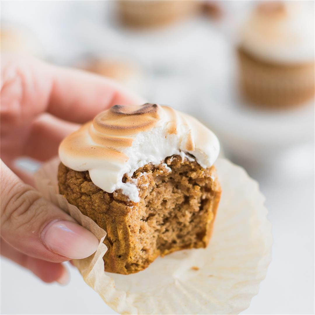 Pumpkin Spice Cupcakes with Toasted Meringue Frosting