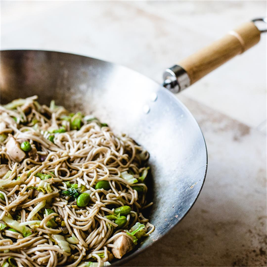 Chicken and Noodle Stir Fry with Edamame