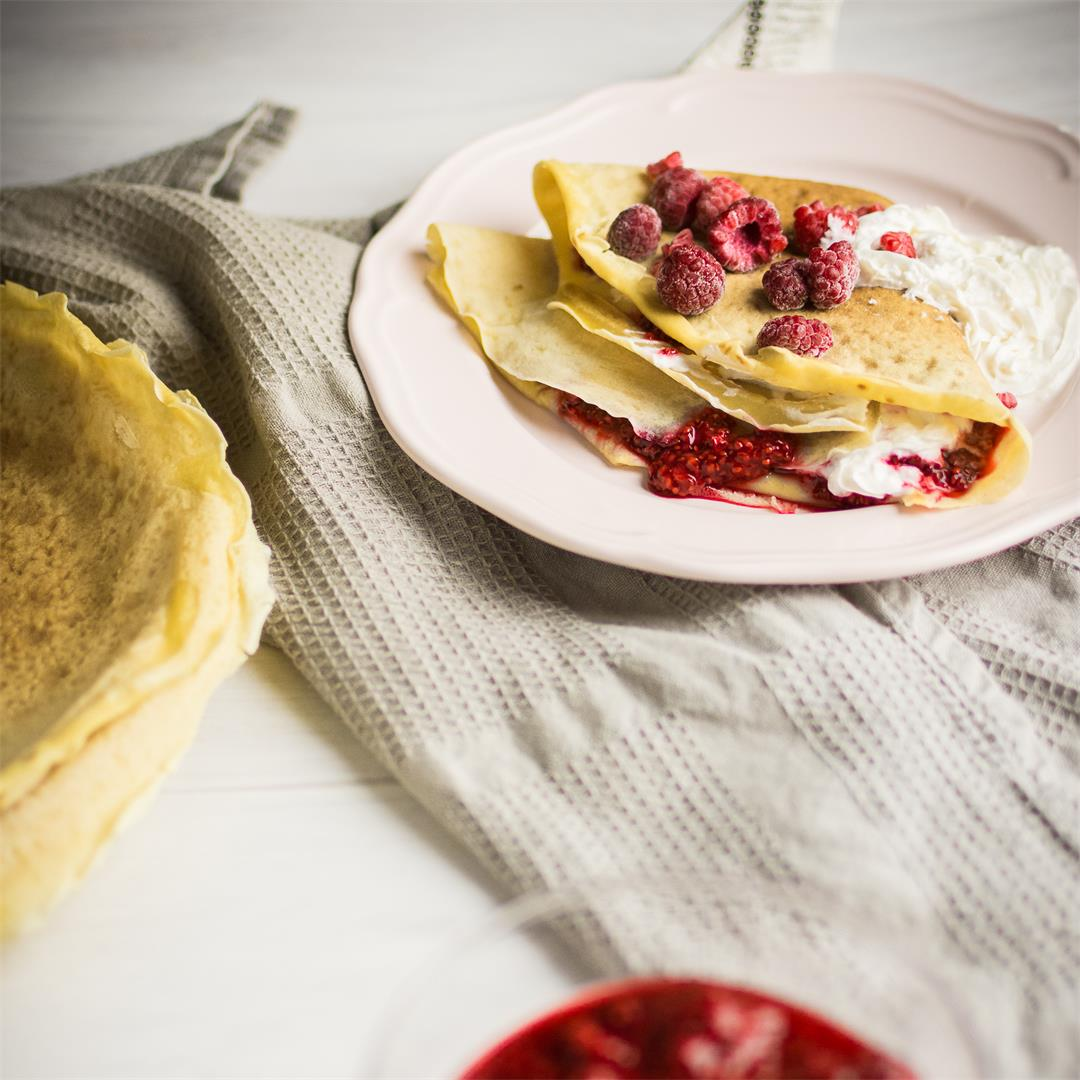 Sweet crepes with raspberry chia jam