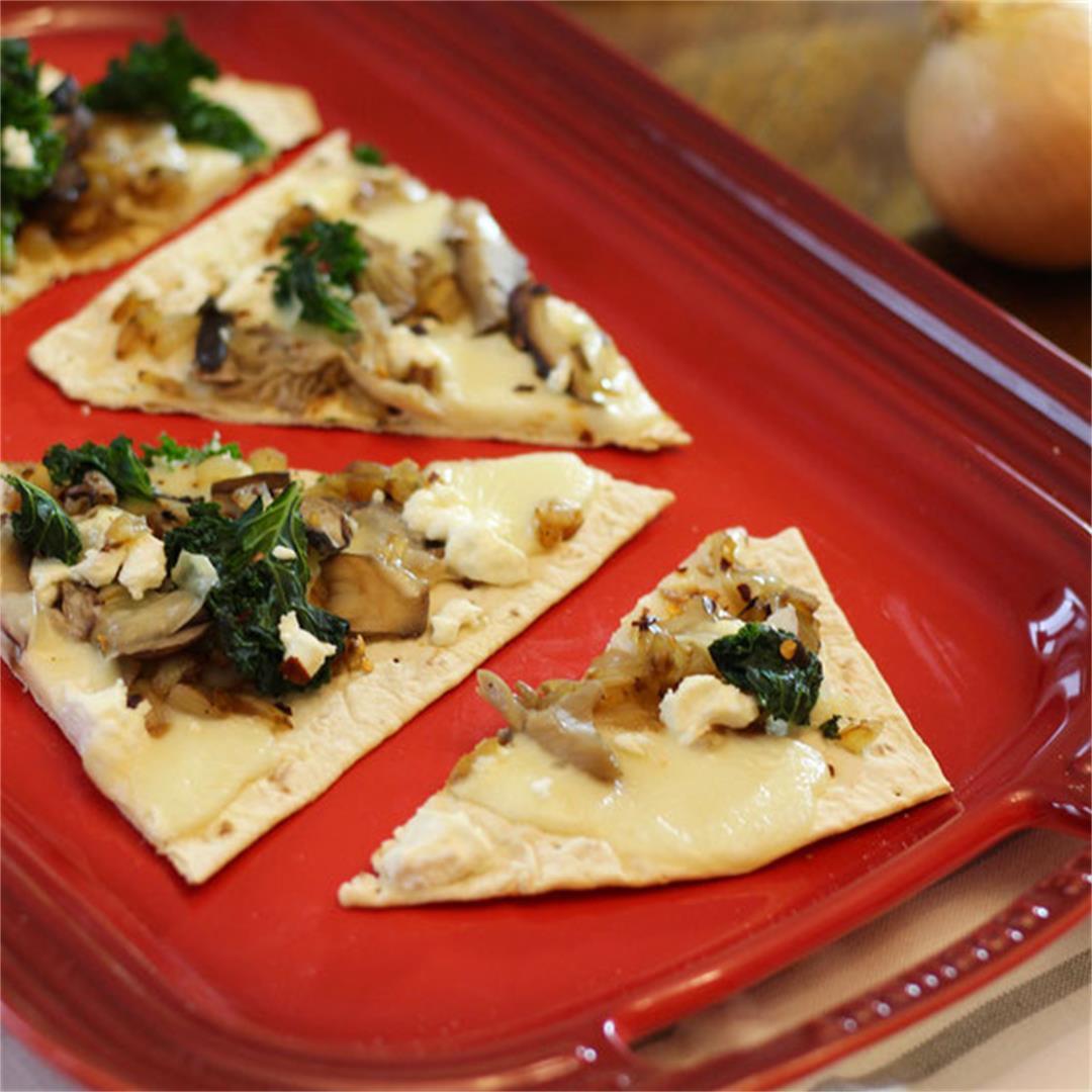 Cheesy Wild Mushroom & Caramelized Onion Pizza