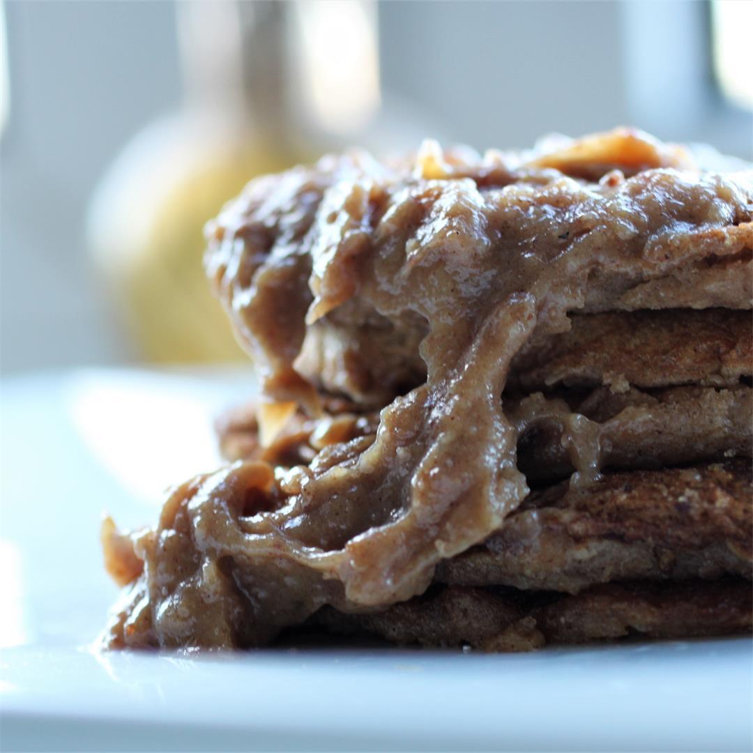 Cinnamon Apple Pancakes w/ date caramel sauce (Vegan, GF)