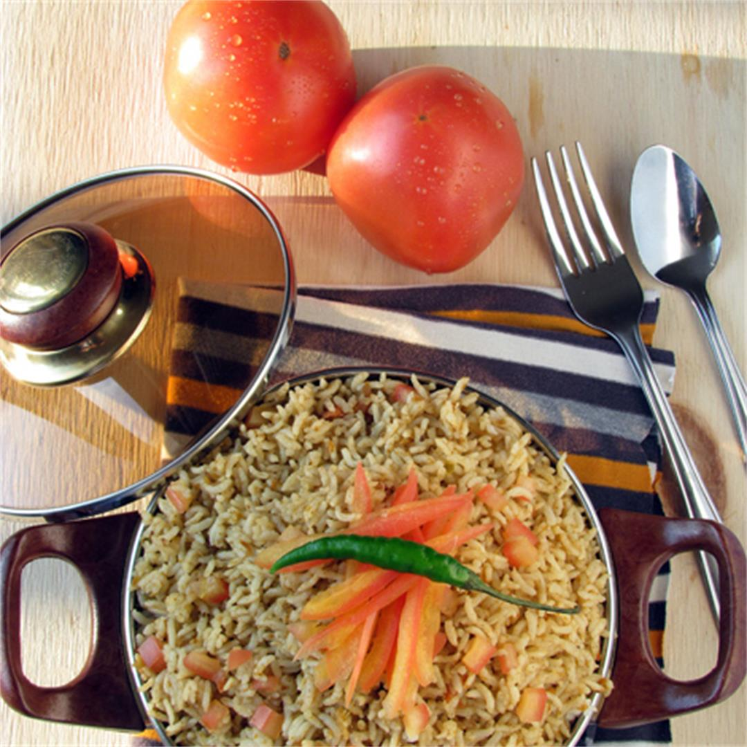 Tomato rice, spicy and easy recipe