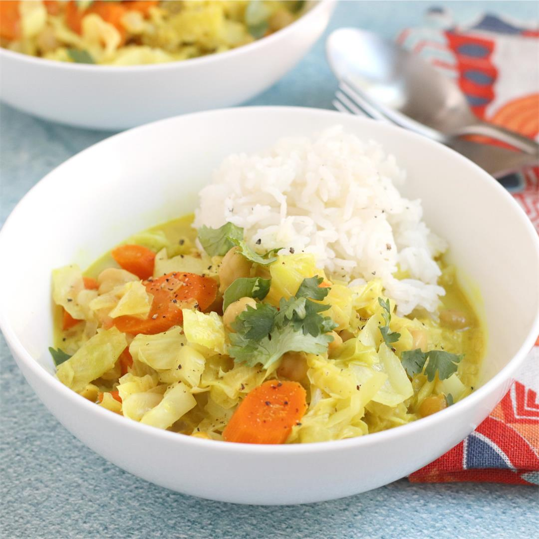 Cabbage Coconut Curry with Chickpeas