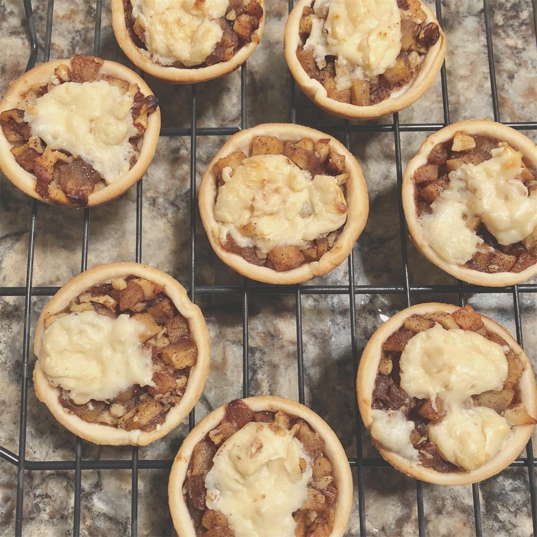 Apple-walnut cream cheese tartlet