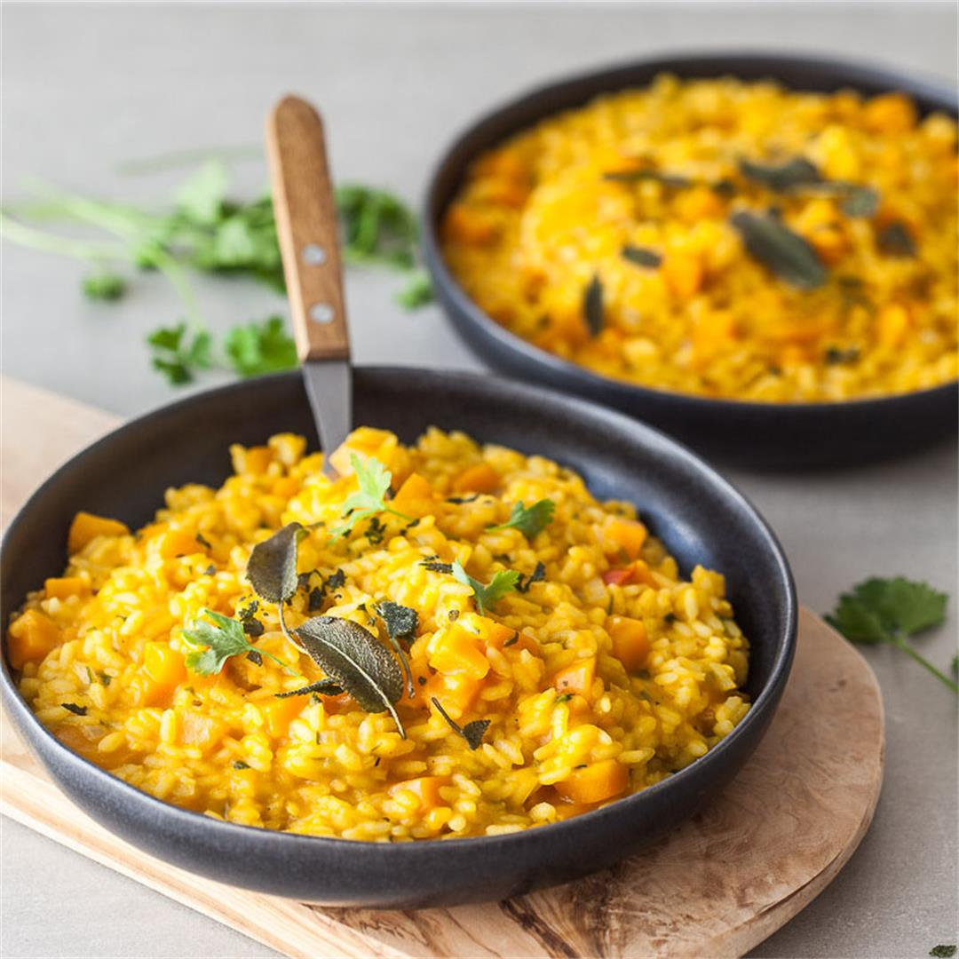 Vegan Pumpkin Puree Sage Risotto