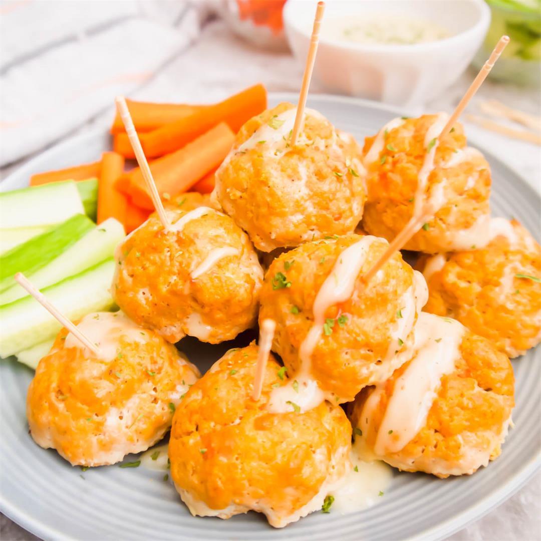 Healthy Buffalo Turkey Meatballs (Paleo, Whole30, GF)