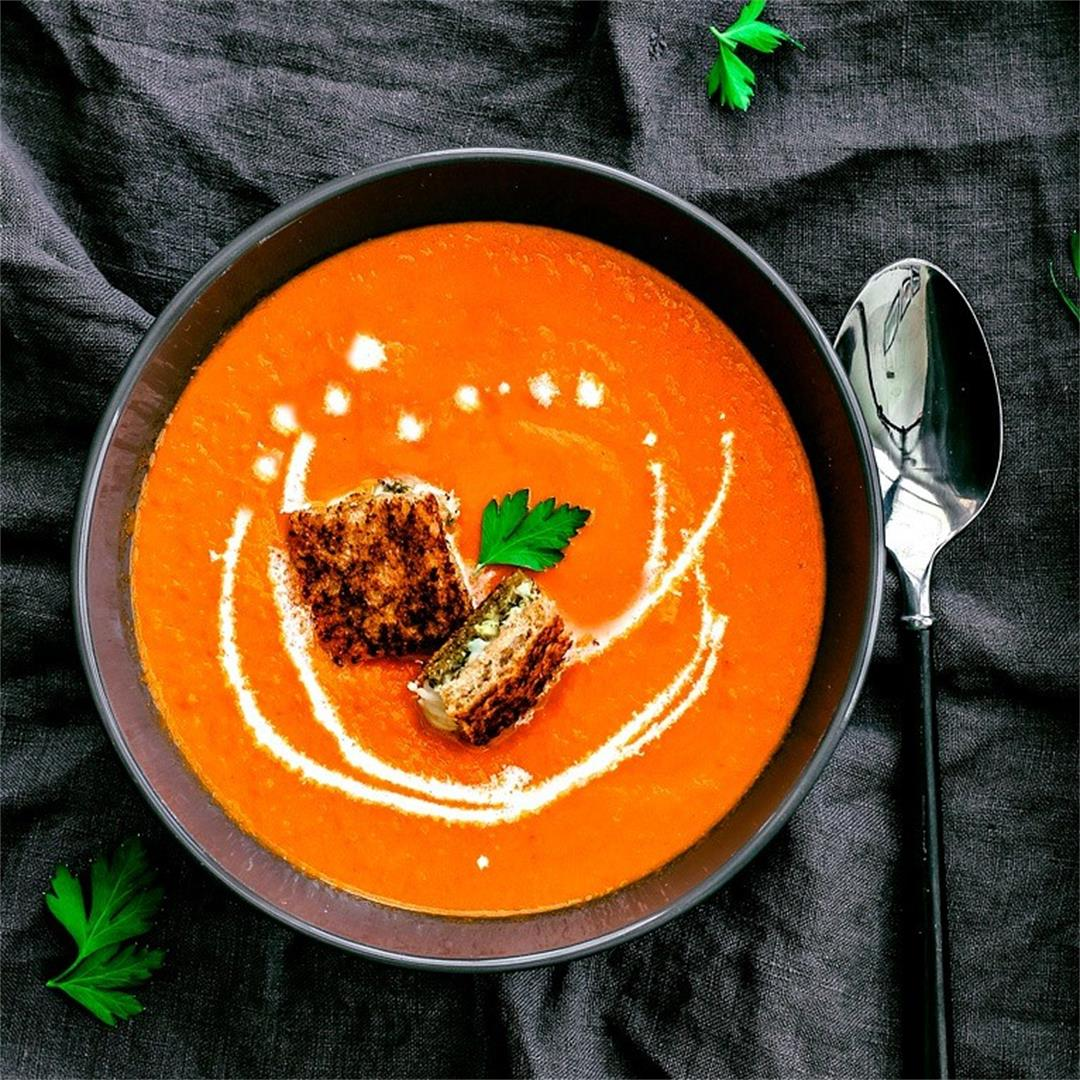 Classic Tomato Soup + Pesto Grilled Cheese Croutons