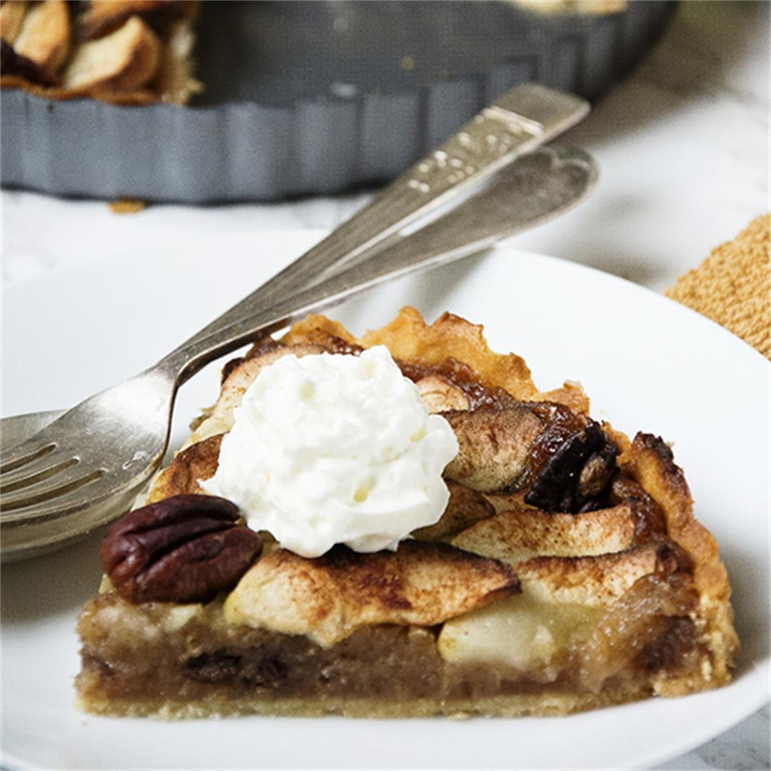 Spiced apple and pecan tart.