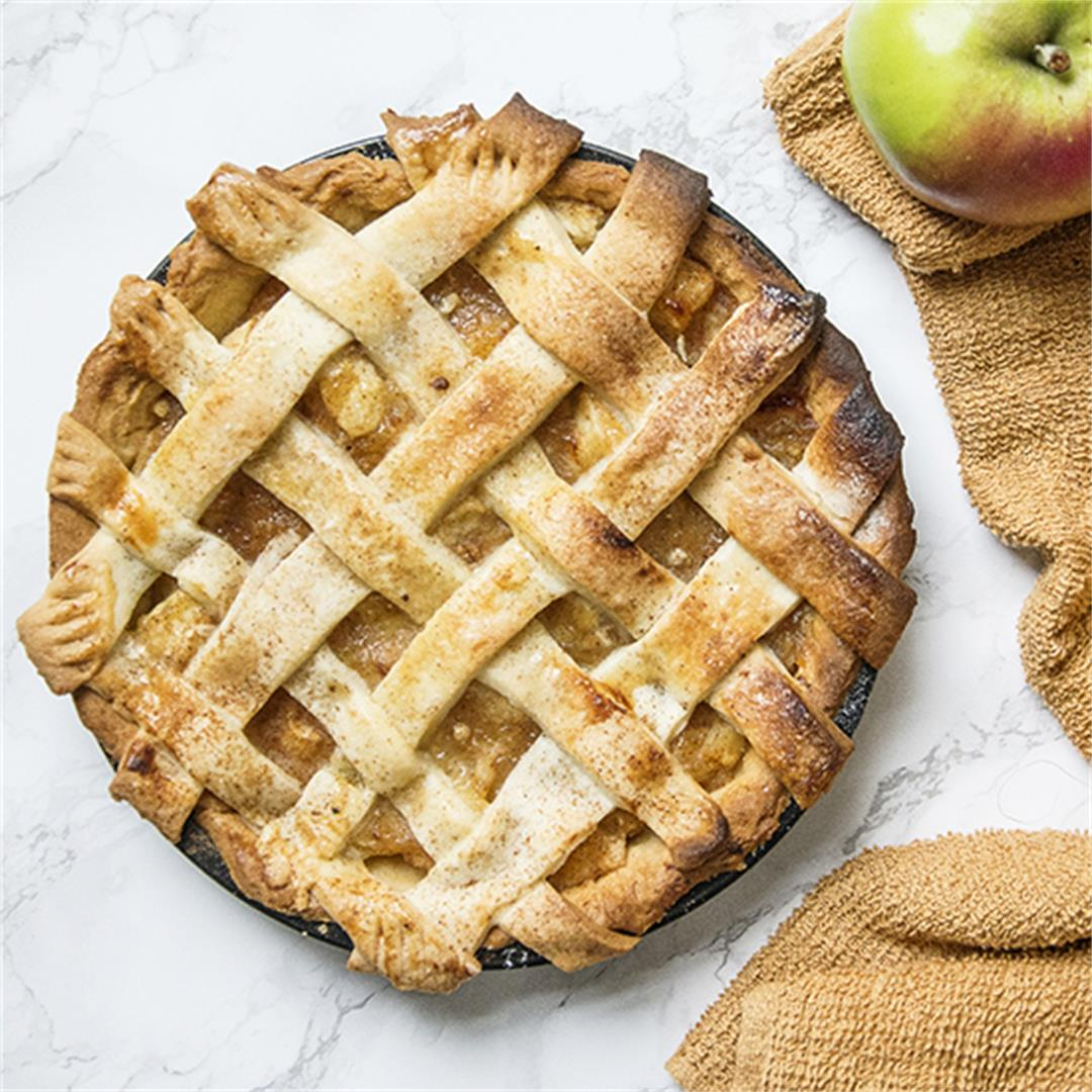 Classic apple pie spiced with mixed spice and cinnamon