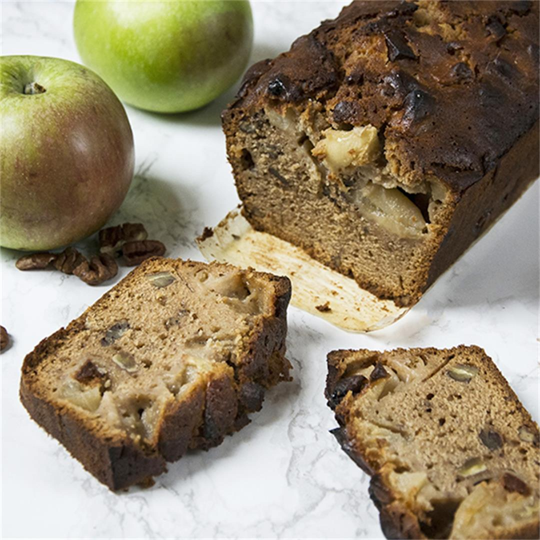 Beautiful apple and pecan loaf spiced with cinnamon and ginger