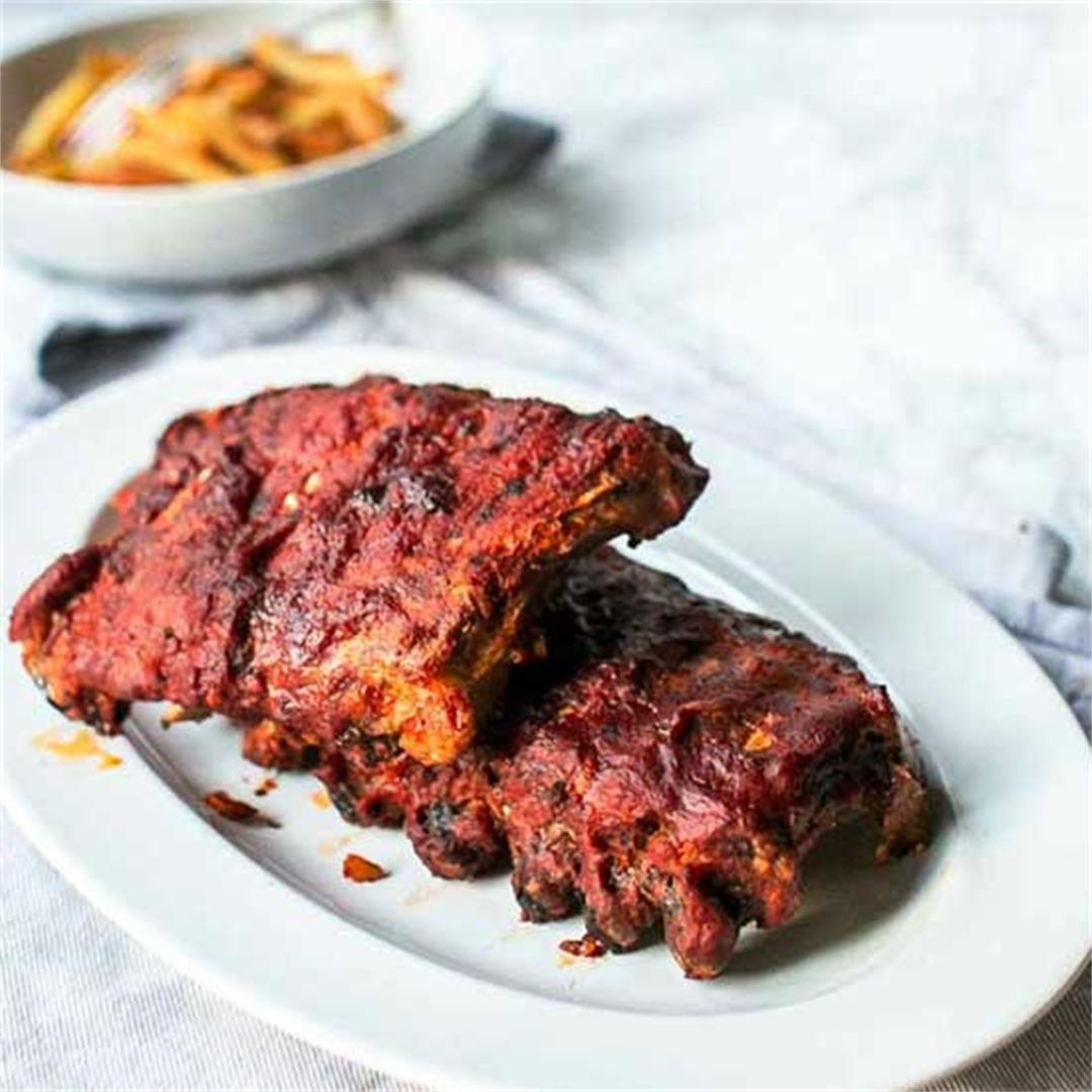 Slow cooked barbecue ribs