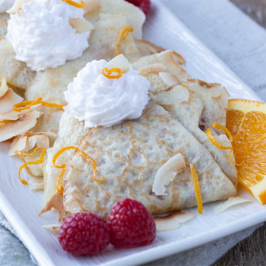 Coconut Milk Crepes with Orange Jam and Toasted Coconut