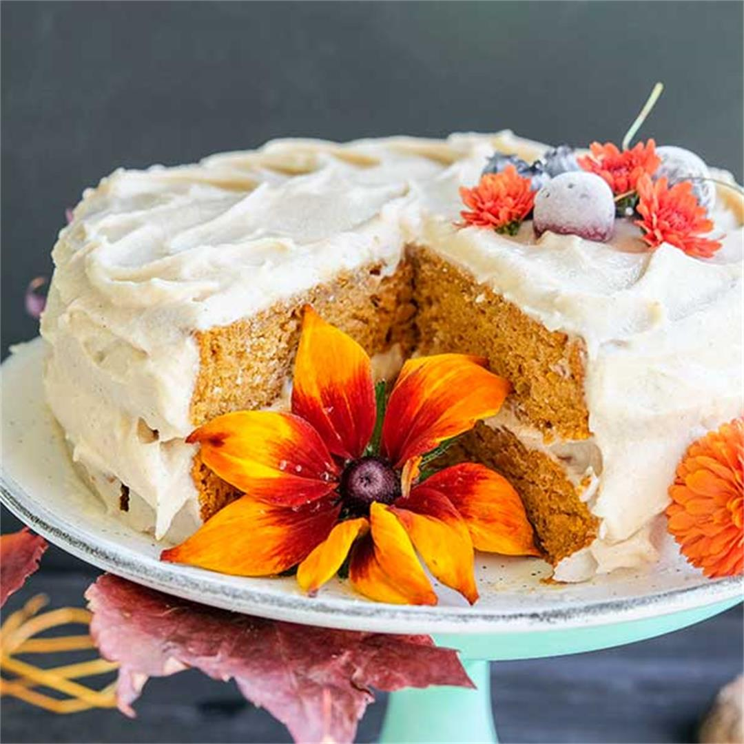 Chai Pumpkin Cake with Spiced Buttercream Frosting. (Gluten-Fre
