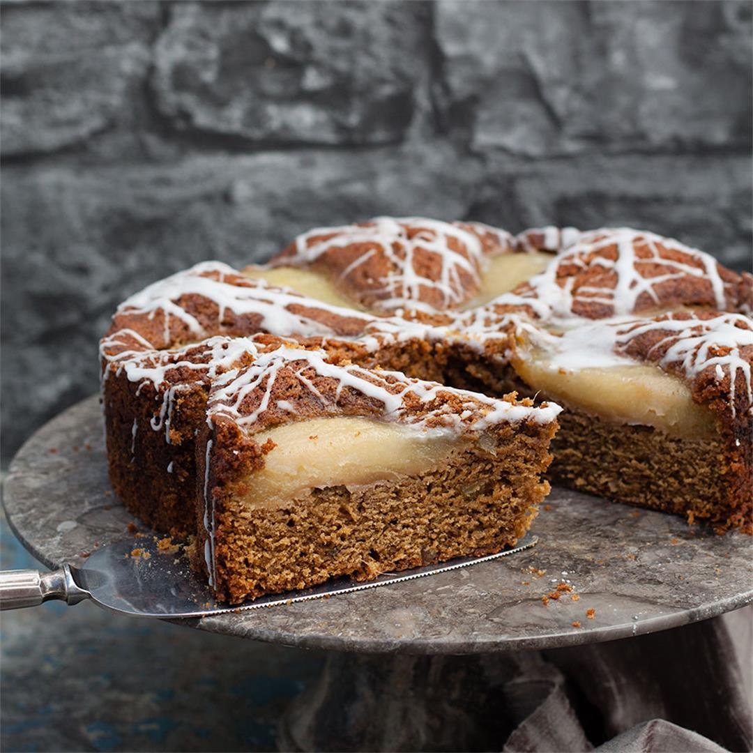Pear and Ginger Cake with rum drizzle