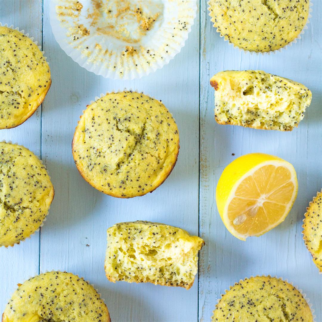 Lemon Poppy Seed Cheesecake Muffins