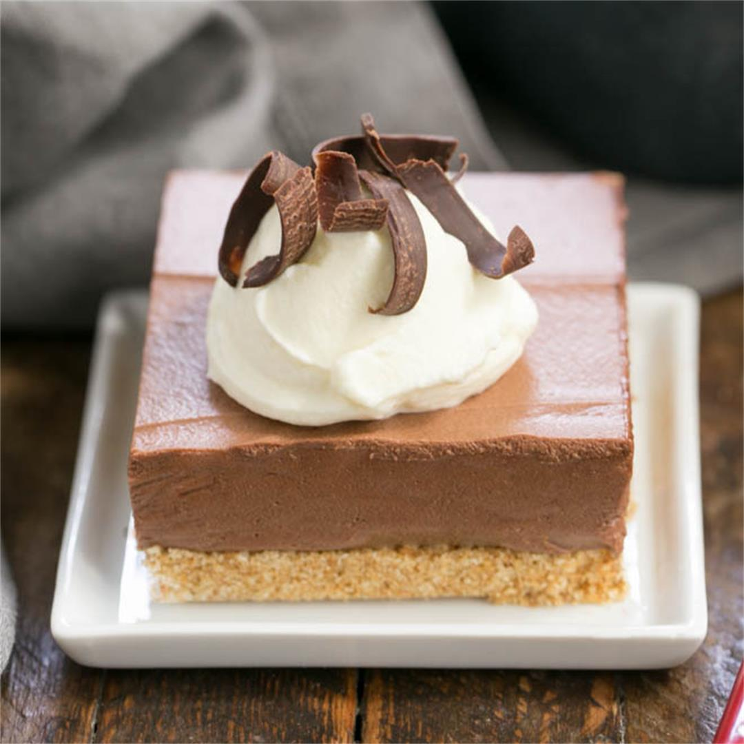 Easy Chocolate Mousse Bars with a Graham Cracker Crust