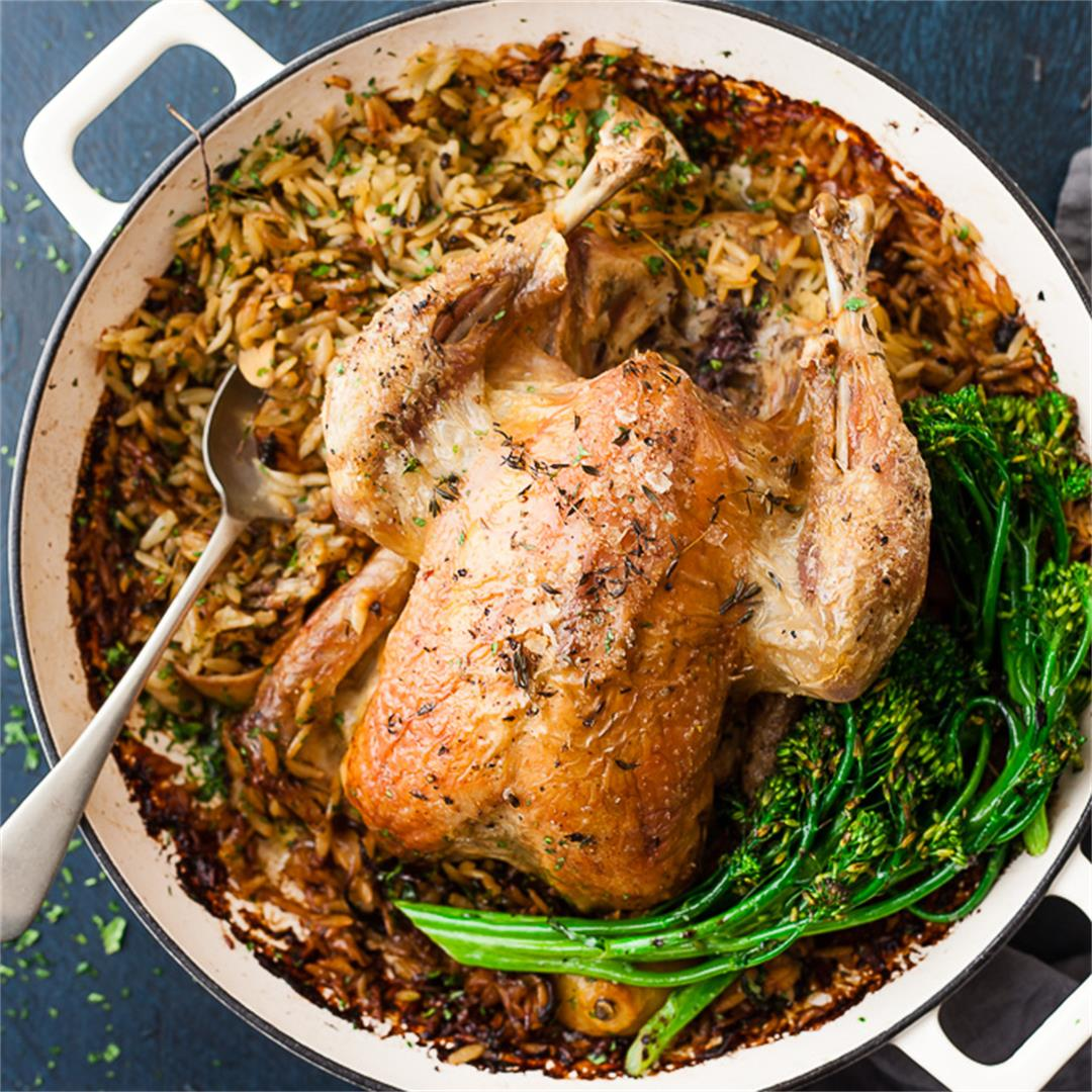 One Pot Roast Chicken Dinner With Orzo and Vegetables