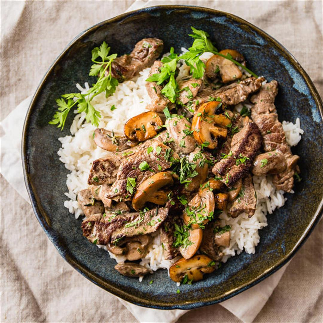 Easy Beef Stroganoff with Rice