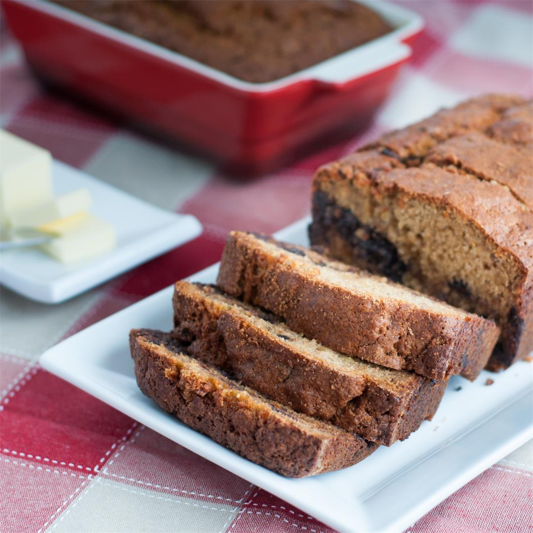 Moist and Delicious Banana Bread with Dark Chocolate Chips