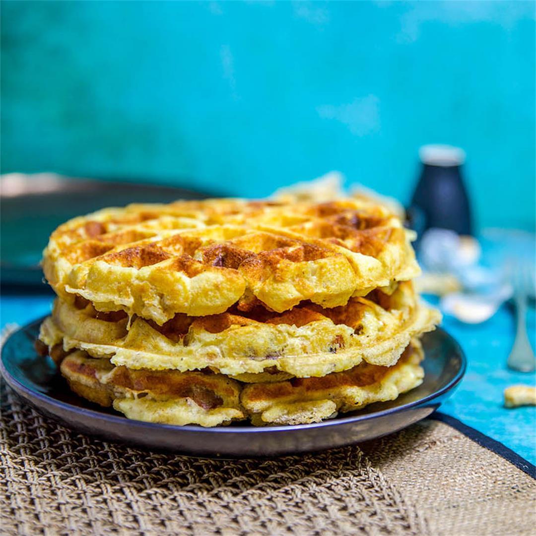 Cheesy Sausage Keto Waffles