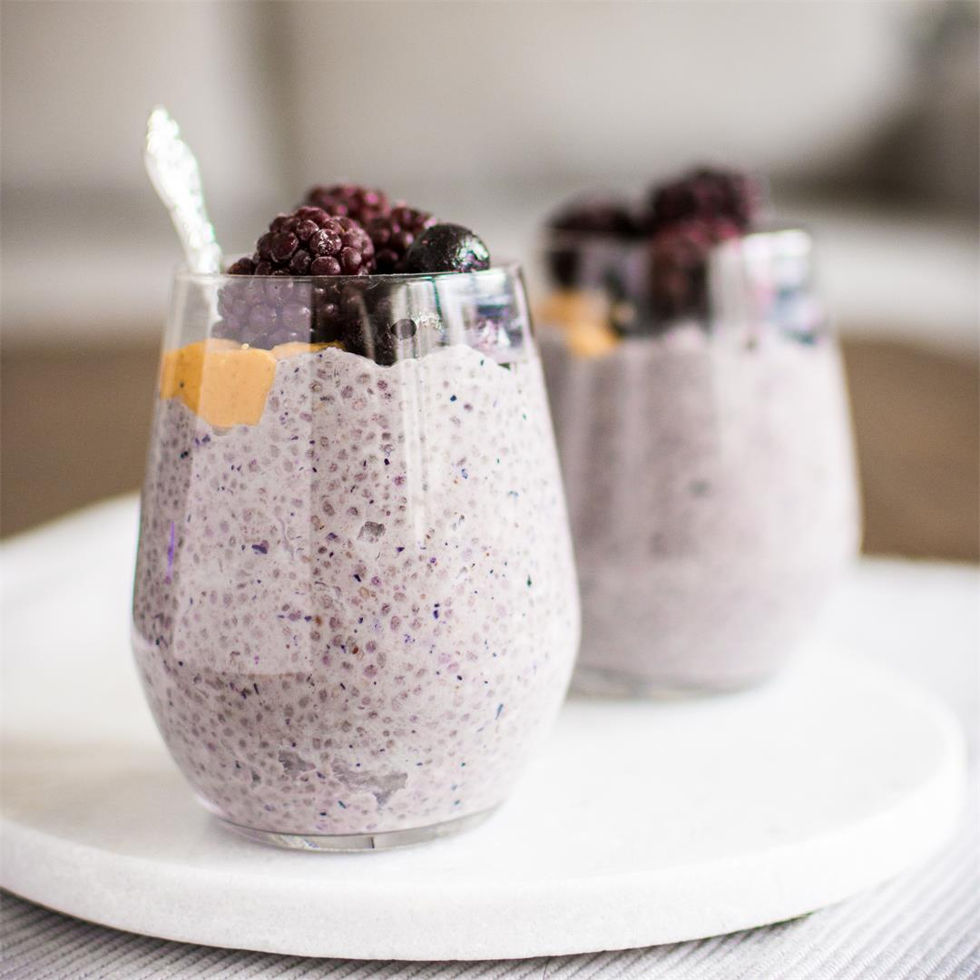 Peanut butter and blueberry chia pudding