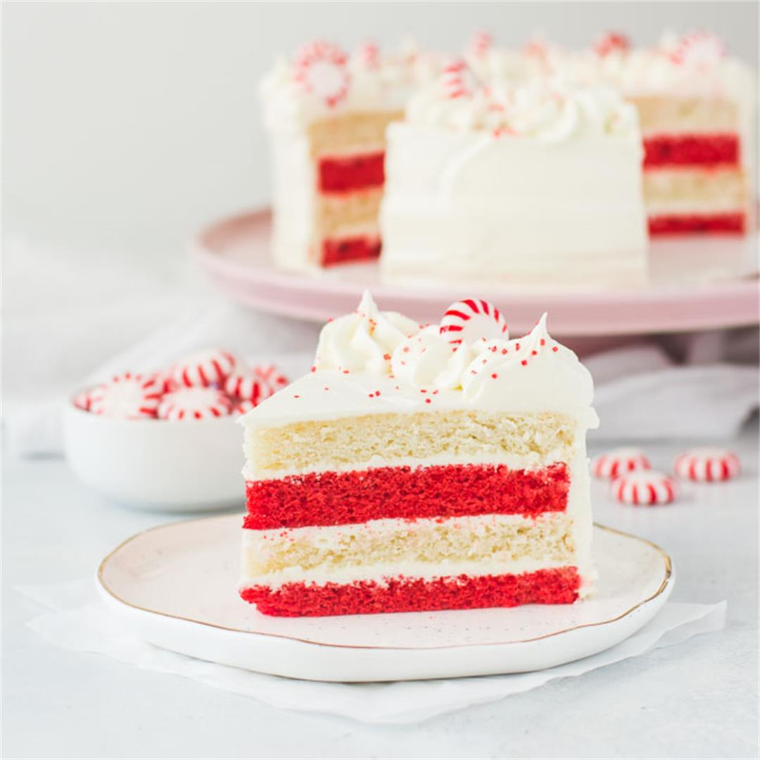 Peppermint Cake with White Chocolate Frosting