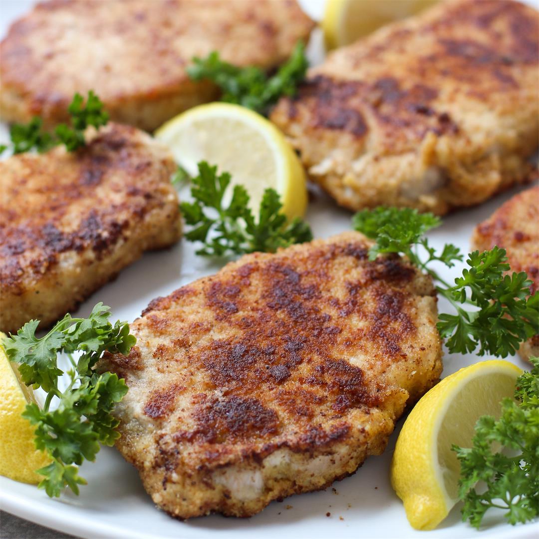 Lemon Butter Parmesan Crusted Pork Chops