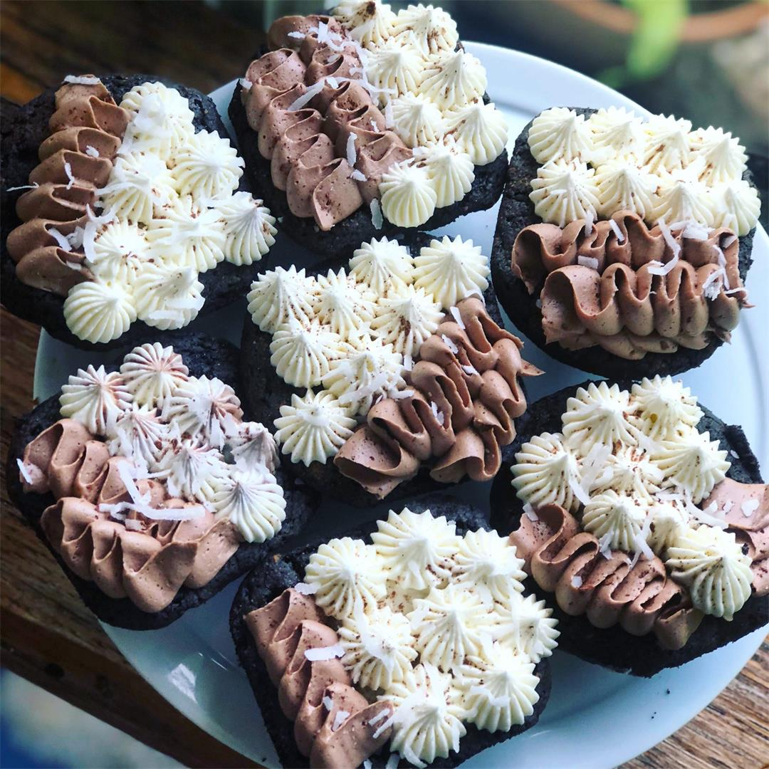 Coconut Almond Brownie Cupcakes