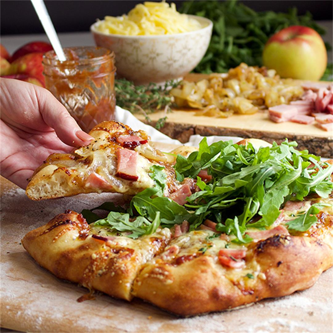 Ham and Cheese Pizza with Caramelized Onions and Apple Butter