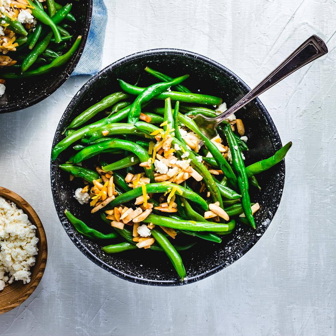 Green Beans Almondine With Feta