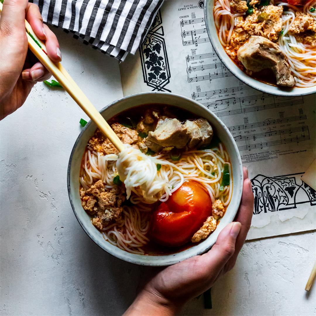 A comforting homemade bun rieu recipe.