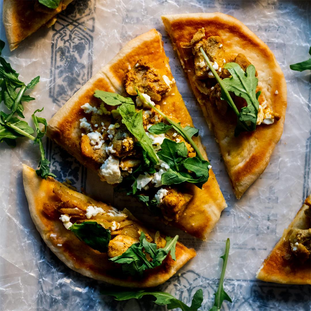 Chicken Curry Naan Pizza
