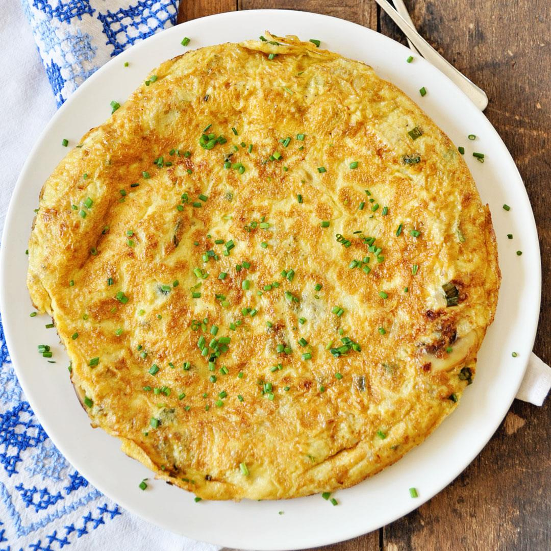 Spanish Tortilla Omelette with Mushrooms and Onions