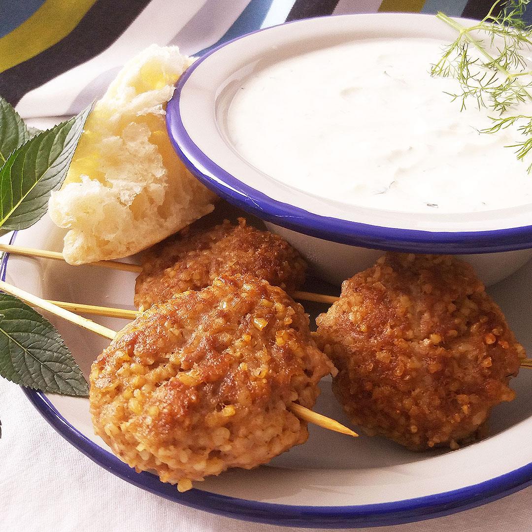 Moroccan Bulgur Meatballs with Mint and Yogurt Dip