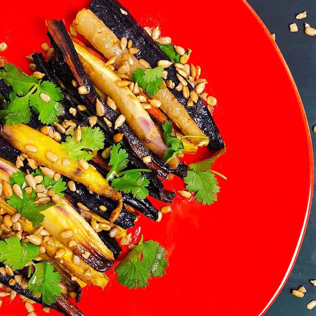 Roasted Rainbow Carrots w/ Ginger Brown Butter Sauce