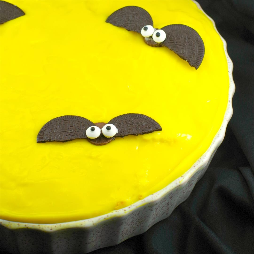 No Bake (Inside Out) Boston Cream Halloween Moon Pie