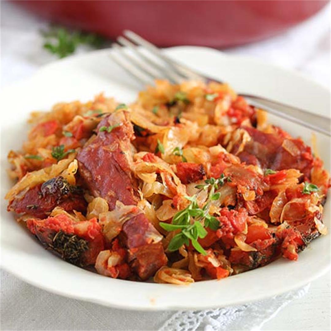 Cabbage Casserole Recipe with Pork Ribs and Tomatoes