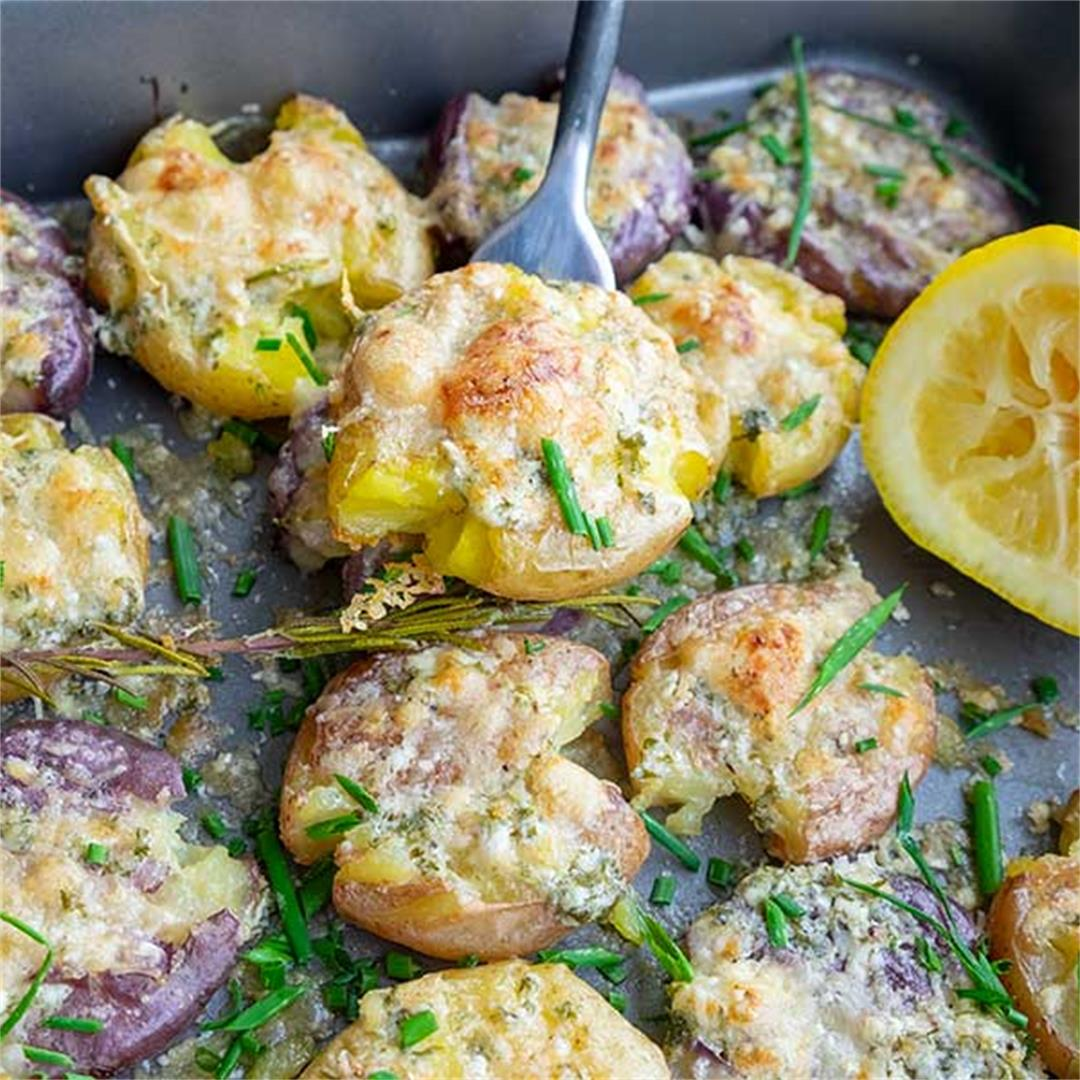 Smashed Crispy Potatoes with Herb Garlic Lemon Butter & Parmesa