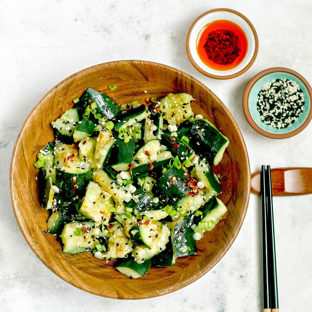 Sichuan Smashed Cucumber Salad + Hot Chili Oil
