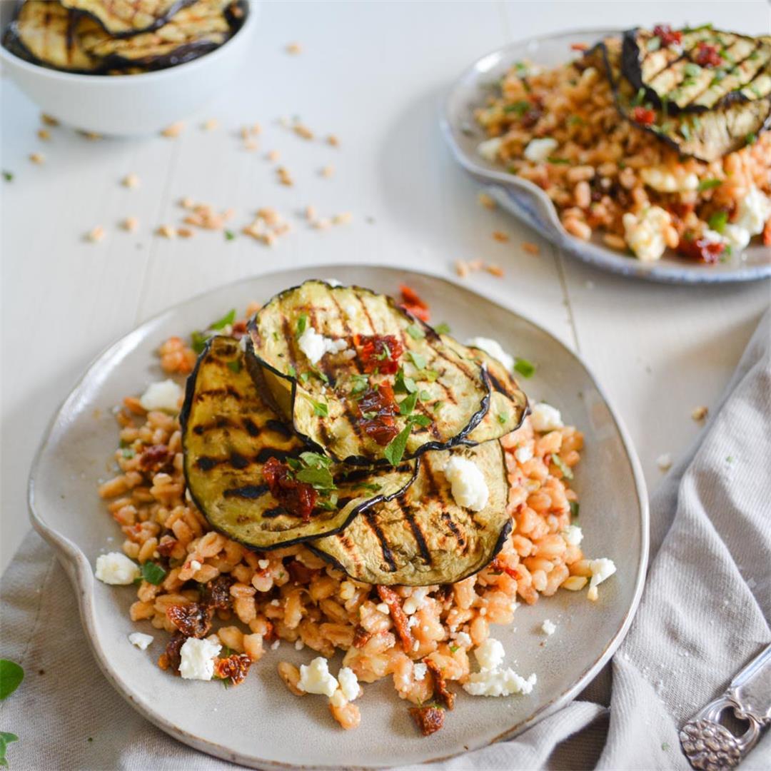 Smoky Charred Eggplant & Mediterranean Farro Salad