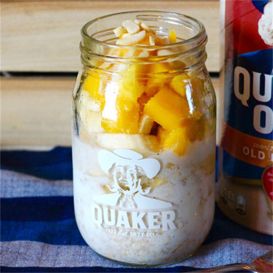 Mango Banana Almond Overnight Oats